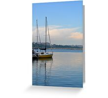 Photography of boat in the harbor on sunny day, in Constanta port, Romania. Greeting Card