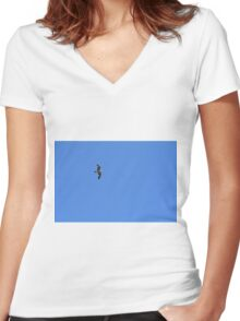 Seagull flying in the blue sky. Women's Fitted V-Neck T-Shirt