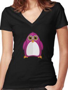 Violet Penguin 2 Women's Fitted V-Neck T-Shirt