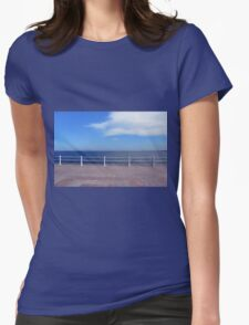 Promenade by the sea with cloudy sky and white handrail. Womens Fitted T-Shirt