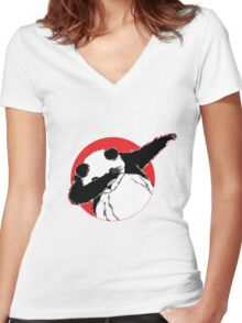 Panda Dab Dance Style Women's Fitted V-Neck T-Shirt