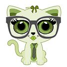 Kitten Nerd - Green by Adamzworld