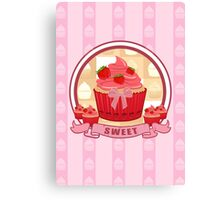 Sweet Strawberry Cupcake Canvas Print