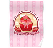 Sweet Strawberry Cupcake Poster