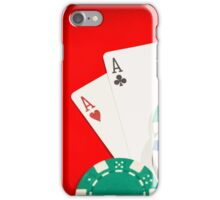 Pair of aces and chips on a red table iPhone Case/Skin