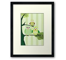 Green Owls Framed Print