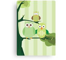 Green Owls Canvas Print