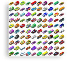 Cars Game Icons Isometric Vehicles Canvas Print