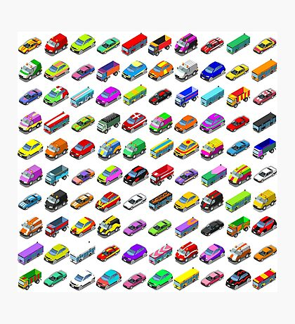 Cars Game Icons Isometric Vehicles Photographic Print