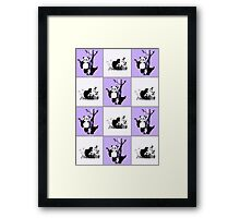 Pandas Checker - Purple Framed Print