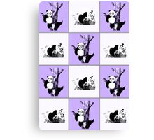 Pandas Checker - Purple Canvas Print