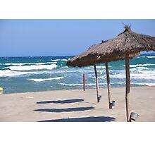 Sea , sand and umbrella  Photographic Print