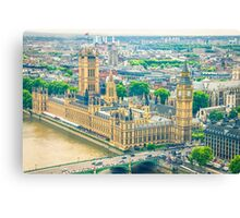 Aerial view of the Big Ben, the Parliament and the Thames river Canvas Print