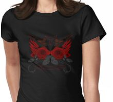 Guns and Roses RED Womens Fitted T-Shirt