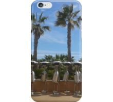 atmospheric warming, hot summer, Palmtrees, blue sky, robot, holiday,  iPhone Case/Skin