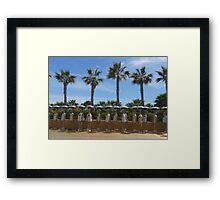 atmospheric warming, hot summer, Palmtrees, blue sky, robot, holiday,  Framed Print