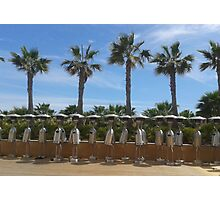 atmospheric warming, hot summer, Palmtrees, blue sky, robot, holiday,  Photographic Print