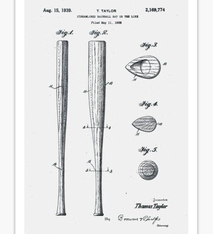 Baseball Bat Patent 1939 Sticker
