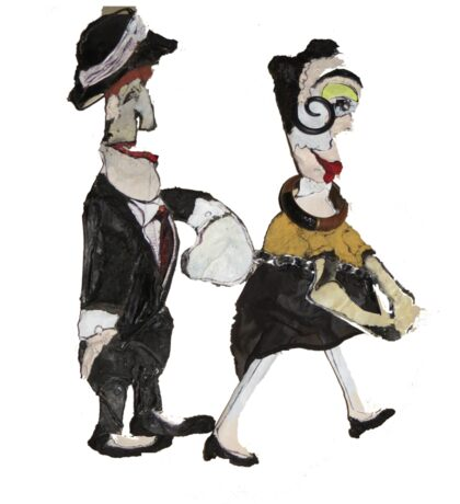 Theatre Going Puppet  Couple  Sticker
