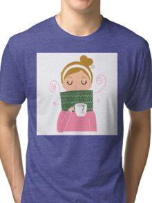 Beautiful Girl holding Tea vector Illustration Tri-blend T-Shirt