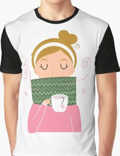 Beautiful Girl holding Tea vector Illustration Graphic T-Shirt