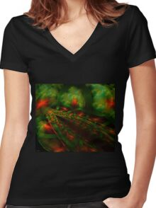 Ribbons of Time Threads of Memory Women's Fitted V-Neck T-Shirt