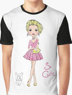 Pop Art girl in dress with cat Graphic T-Shirt