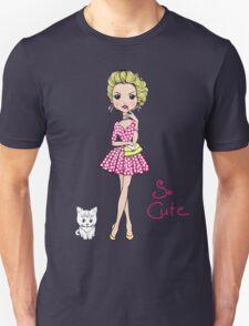 Pop Art girl in dress with cat Unisex T-Shirt