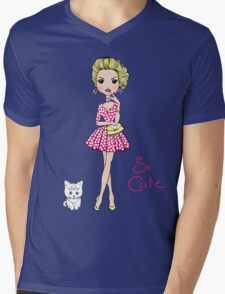 Pop Art girl in dress with cat Mens V-Neck T-Shirt