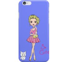 Pop Art girl in dress with cat iPhone Case/Skin