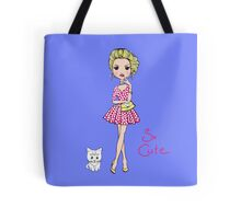 Pop Art girl in dress with cat Tote Bag