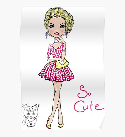 Pop Art girl in dress with cat Poster