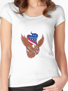 American Eagle Wings USA Flag Drawing Women's Fitted Scoop T-Shirt