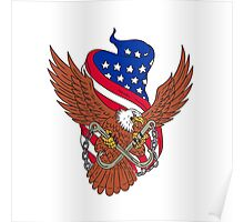 American Eagle Wings USA Flag Drawing Poster