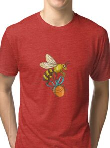 Bee Carrying Honey Pot Drawing Tri-blend T-Shirt