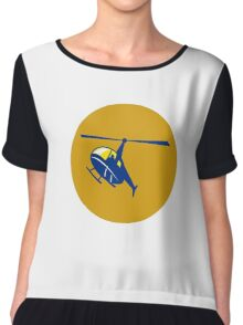 Helicopter Chopper Flying Circle Retro Chiffon Top