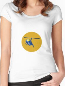 Helicopter Chopper Flying Circle Retro Women's Fitted Scoop T-Shirt