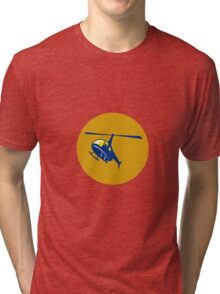 Helicopter Chopper Flying Circle Retro Tri-blend T-Shirt