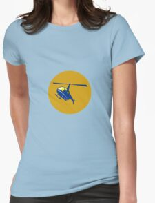 Helicopter Chopper Flying Circle Retro Womens Fitted T-Shirt
