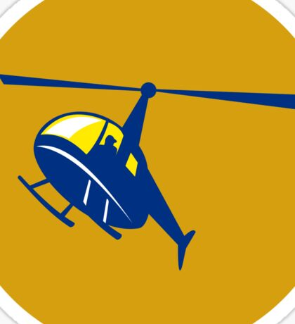 Helicopter Chopper Flying Circle Retro Sticker