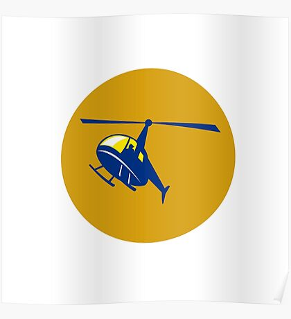 Helicopter Chopper Flying Circle Retro Poster
