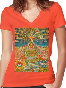 Amityaus Buddha Women's Fitted V-Neck T-Shirt