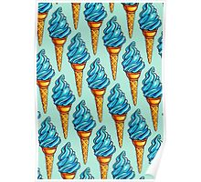 Blue Ice Cream Pattern Poster