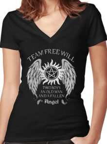Two boys,an old man and a fallen angel Women's Fitted V-Neck T-Shirt