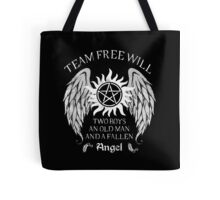 Two boys,an old man and a fallen angel Tote Bag