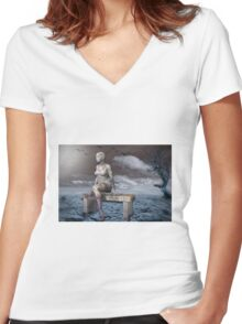 Stone woman Women's Fitted V-Neck T-Shirt