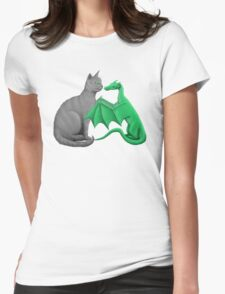 Gray Cat Meets Tiny Green Dragon Womens Fitted T-Shirt