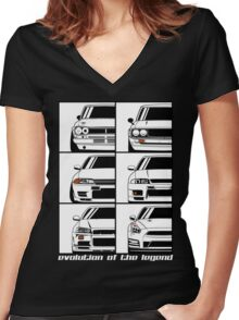 Nissan Skyline. Evolution Women's Fitted V-Neck T-Shirt