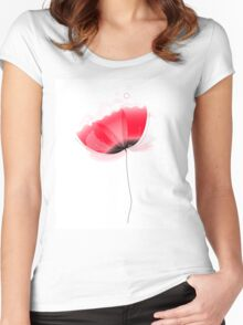 Cute beautiful abstract Poppy flower isolated on white Women's Fitted Scoop T-Shirt
