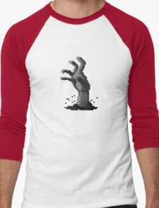 Zombie Grasp Pixels Black and White Men's Baseball ¾ T-Shirt